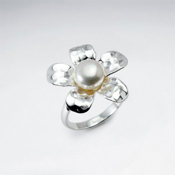Hammered Silver White Pearl Five Petal Flower Ring