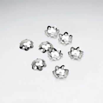 Hammered Style Sterling Silver Floral Bead Caps Pack Of 50 Pieces