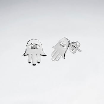 Hamsa Hand Evil Eye With Cubic Zirconia Sterling Silver Stud Earrings