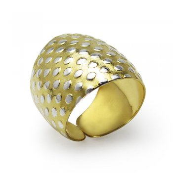 Handmade Golden Dot Ring in Sterling Silver