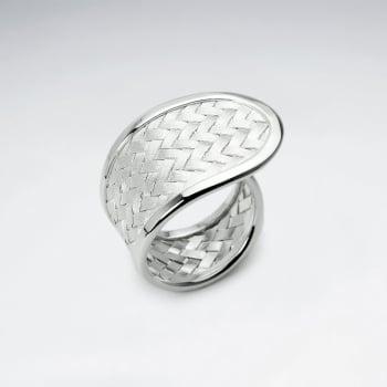 Handmade Matte Silver High Polished Basketweave Fashion Ring