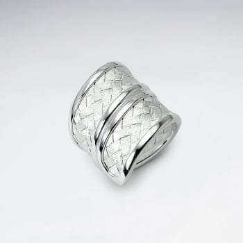 Handmade Matte Silver High Polished Basketweave Wide Band Ring