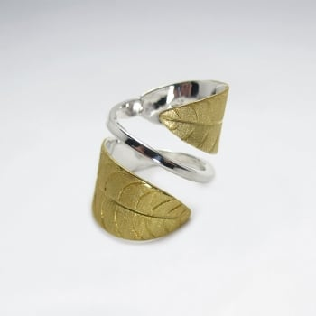 Handmade Matte Silver High Polished Midas Touch Leaf Wrap Ring