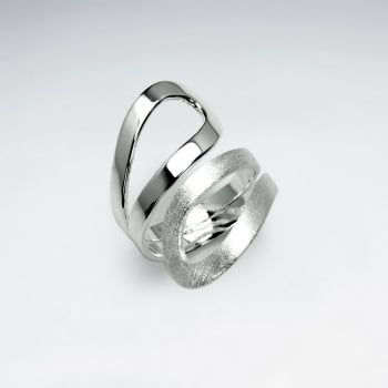 Handmade Matte Silver High Polished Openwork Wrap Ring