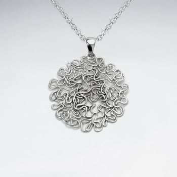 Handmade Silver Abstract Art Rhodium Pendant with Sand Blasted Finish