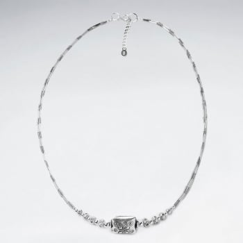 Handmade Silver Charm Necklace with Rectangle Statement Bead