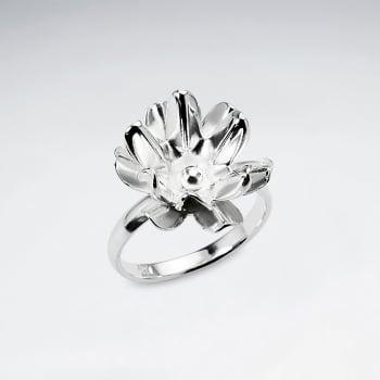 Handmade Silver Dimensional Flower Blossom Ring