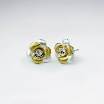 Handmade Silver Duel Tone Matte Flower Earrings
