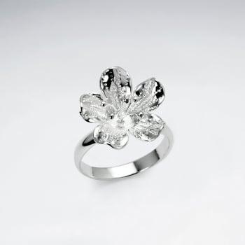 Handmade Silver Feminine Elegance Flower Ring