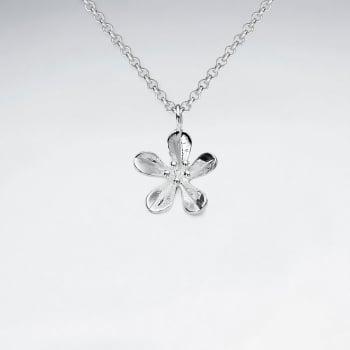 Handmade Silver Five Point Flower Pendant
