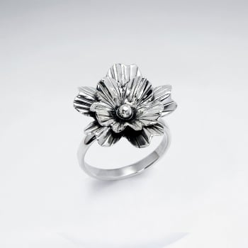 Handmade Silver Oxidized Detailed Flower Blossom Ring
