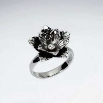 Handmade Silver Oxidized Flower Pop Ring