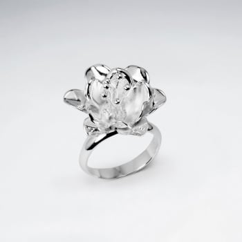 Handmade Silver Peach Blossom Flower Ring