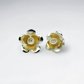 Handmade Silver Sand Blasted Flower Earrings