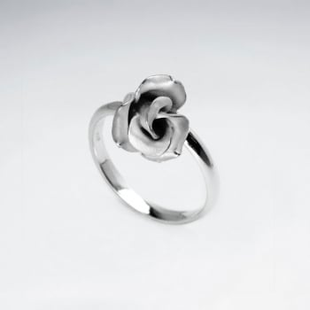 Handmade Silver Sand Blasted High Polished Rose Wrap Ring