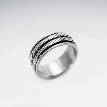 Handsome Oxidized Silver Double Rope Twist Ring