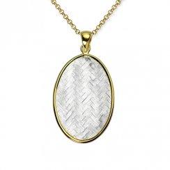 Harmony Hues Oval Basket Weave Pendant