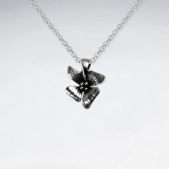 Hawaiian Flower Silver Oxidized Necklace Pendant