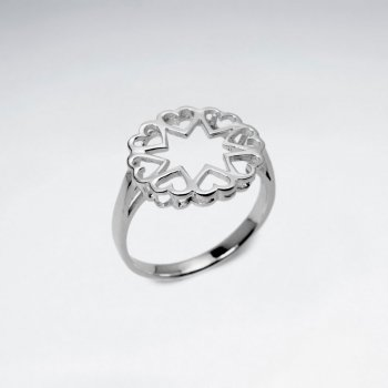 Heart Circle Openwork Sterling Silver Ring