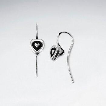 Heart Embossed Drop Button Earrings