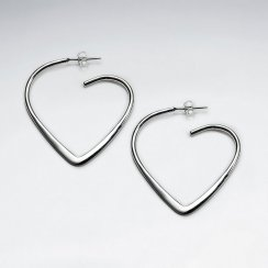 Heart Illusion Sterling Silver Earrings