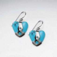 Heart Shape Blue Turquoise Silver Dangling Silver Earring