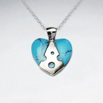 Heart Shape Blue Turquoise Silver Pendant
