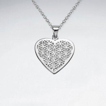Heart Shape Flower of Life Silver Pendant
