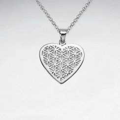 Heart Shape Flower of Life Silver Pendant