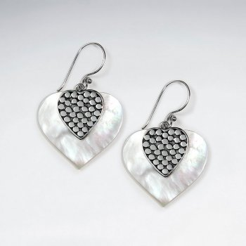 Heart Shape Mother Of Pearl Silver Dangling Earring