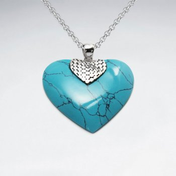 Heart Shape Silver Pendant Blue Turquoise With Dot Silver Cap