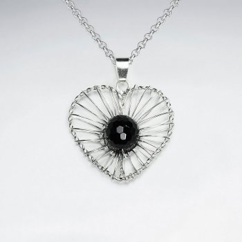 Heart Shape Wirework Silver Pendant With Round Faceted Black Stone