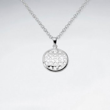 Hearts Cutout Circle Pendant in Brilliant Sterling Silver
