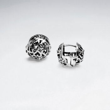Hearts Filigree Oxidized Silver Dimensional Ball Earrings
