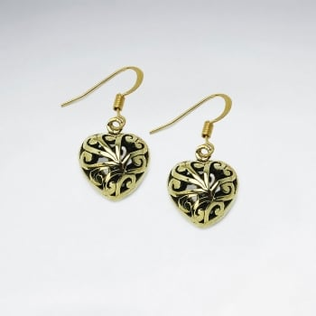 Hearts Inspired Brass Scrollwork Textured Dangle Earrings