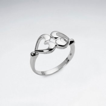 Hearts Together Openwork Sterling Silver Ring