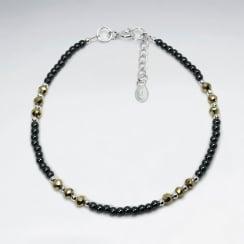 Hematite & Silver Full Beaded Bracelet