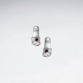 High-Heeled Stud Silver Earring Shoe With Red CZ