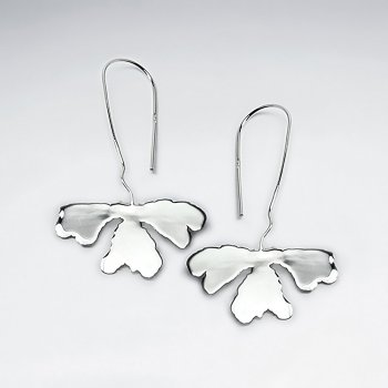 High Polish Drop Clover Organic Design Sterling Silver Earrings