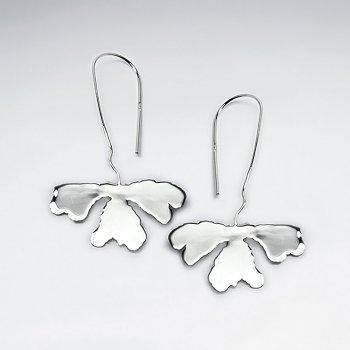 High Polish Drop Clover Organic Design Sterling Silver Earrings