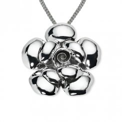 High Shine Sterling Silver Flower Pendant