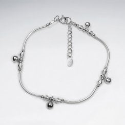 Hill Tribe Silver Ball Charm With Curve Bar Bracelet