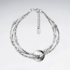 Hill Tribe Silver Bead with Hammered Charm Bracelet
