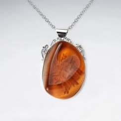 Honey Sweet Imitation Amber Organic Silhouette Pendant