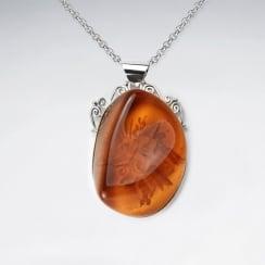 Honey Sweet Imitation Amber Organic Silhouette Pendant