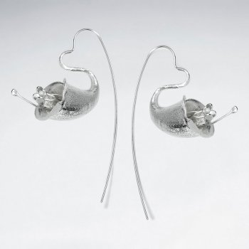 Honeysuckle Inspired Silver Drop Hook Earrings