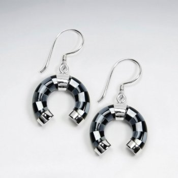 Horseshoe Mother Of Pearl And Black Stone Silver Earring