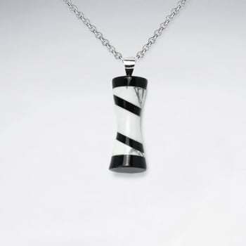 Howlite & Black Stone Striped Dimensional Tube Pendant