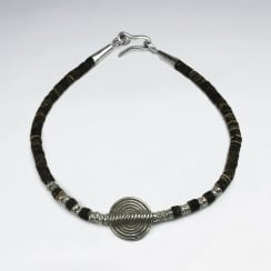 Hypnotic Charms Sterling Silver & Coconut Bead Bracelet