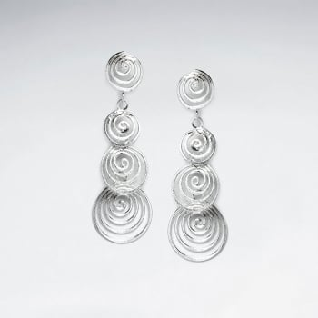 Hypnotic Sterling Silver Openwork Spiral Cascade Earrings